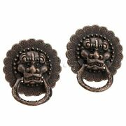 2/10pcs Antique Copper Jewelry Box Door Lion Head Ring Pull Handle Drawer Knobs