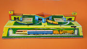 Vintage Old Russian Cccp Tin Toy Train Station Mechanical Wind-up Works 1950's