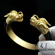 Men Stainless Steel 12mm Gold/black Dragon Heads Leather Adjust Handcuffb83