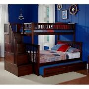 Twin Full Bunk Bed Stairs Bedroom Furniture Children Kids Adults Home Decor Sale