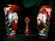 Pr 11-3/4 Victorian Hand Painted Bristol Glass Lily Daisy Mountain Scene Vases