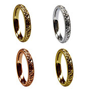 3mm 18ct Red Yellow White Gold Hand Engraved Court Comfort Wedding Rings Uk Hm
