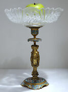 French Bronze Ormolu And Cut Glass 3 Graces Champleve Enamel Center-piece C. 1900