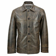 Mens Real Leather Vintage Box Jacket Antique Washed Brown Classic Reefer Coat
