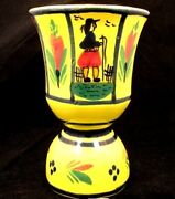 Pair Of Quimper Egg Cups Hb Quimper W Breton Man And Woman Yellow C.1950and039s