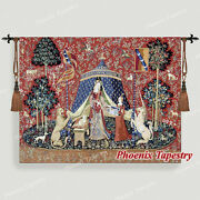 The Lady And Unicorn Medieval Tapestry Wall Hanging Jacquard Weave Desire Large