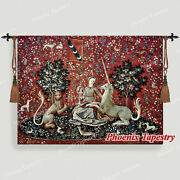 The Lady And Unicorn Medieval Tapestry Wall Hanging Jacquard Weave - Sight 54x41