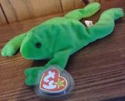 Ty Legs The Frog Beanie Baby1993 Style 4020pvc Pellets No Tush Stamp Mint