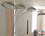 Steel,aluminum Torchier,brushed Crome Arc Floor Lamp With 4saucer Dimmer Lights