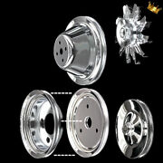 Chrome Small Block Chevy 5 Pulley Set For Sbc 283 327 350 383 400 Swp