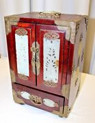 Chinese Antique Vintage Wooden Jewelry Accessory Box W Metalwork And Carved Stone