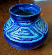 VINTAGE CW STUDIO POTTERY VESSEL in BLUE & TURQUOISE