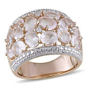 Amour Sterling Silver Rose Quartz And Diamond Ring