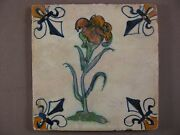Antique Dutch Tile Polychrome Onion Flower Lily 17th - Free Shipping