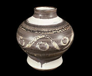 VINTAGE 1971 DECORATED PACIFIC STONEWARE STUDIO ART POTTERY VASE BENNETT WELSH