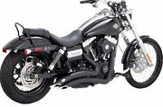 Vance And Hines Black Big Radius 2 Into 2 Full Exhaust For Harley Dyna 2012-2017