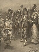Military, Home Again By Frank Holl, Parade, Music, Uniforms, 1881 Antique Print