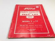 1982 Ford Model T And Tt Price List Of Parts And Accessories Mac's Antique Parts