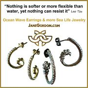 New Ocean Wave Hoop Earrings-sterling Silver And Diamonds- Small- Beach Sea Nature