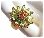 New Colorful Gemstone Daisy Ring-peridot Citrine 18k Gold-other Gems And Silver Ok