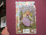 Beautiful Die Cut 1911 Calendar-lovely Girl With Her Dog-lilacs And Violets Dogs