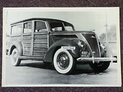 12 X 18 Black And White Picture 1937 Ford Woody Connecticut Plates 1973