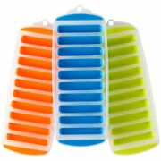 3 Pk 3 Colors Silicone Narrow Ice Stick Cube Trays For Sports And Water Bottles