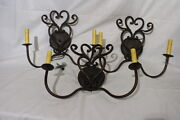 3pc Lot Designs By Bree Old World Lighting Wrought Iron Candlestick Wall Sconces