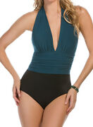 Nwt 148 - Magicsuit By Miraclesuit Yves 1-piece Halter Mallard Sizes 14 16