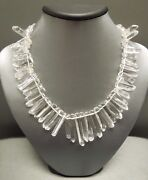 Ancient Roman Cleopatra Style Sterling Quartz Rock Crystal Necklace 15.75