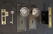 1 Pair Antique Glass Door Knobs Skeleton Key Mortise Backplate Many Available