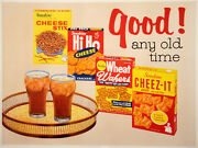 Original Vintage Food Poster Good Any Old Time C1960 Midcentury Modern Cheez-it