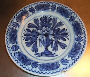 A Plate Of 18th Century Dutch Delft Pottery Hand Painted