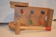 Vtg Wood W Wheels And Hammer, The A.t.f. Pounding Cart Pull Toy, Elephants Design
