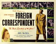 Foreign Correspondent 1940 Half Sheet Poster / Early Hitchcock Spy Thriller