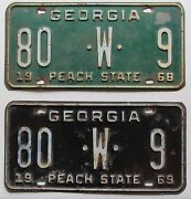 Georgia 1968 And 1969 Berrien County Same Number Truck License Plates 80-w-9
