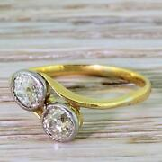 Victorian 0.90ct Old Cut Diamond Crossover Ring - 22k Gold And Silver - C 1870