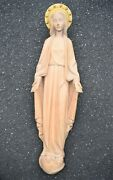 + Hand Carved Wood Statue Of Mary + About 3' Tall + Church + Chalice Co Cu22a