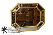 Stunning Vintage French Regency Style Octagonal Gold Tone Beveled Wall Mirror