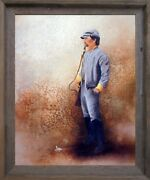 Civil War Soldier Blue Union America With Sword Wall Decor Framed Picture 19x23