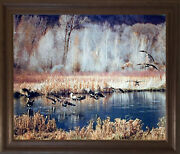 Canadian Geese On Lake Wildlife Birds Wall Decor Brown Framed Picture 19x23