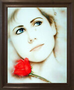 Teardrop Lady Love Remembered Lost Vogue Wall Decor Brown Rust Framed Picture