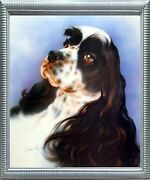 English Springer Spaniel Dog Close-up Wall Silver Framed Picture Art Print 20x24