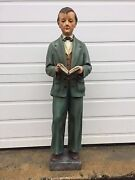 + Antique Statue Of St. Dominic Savio By Daprato + 41 Tall + Real Glass Eyes