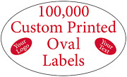 100,000 Printed Labels Custom Oval .75 X 1.25 Business Stickers, 1-color Rolls