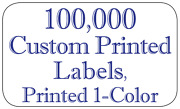 100,000 Custom Printed Labels, Rectangle .75 X 1.25 Business Stickers 1-color