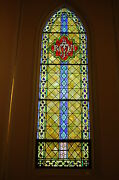 + German Stained Glass Window Marian, 4' Wide X 14' Ht. + Shipping Available +
