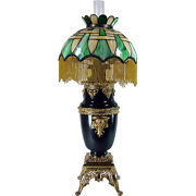 Huge Victorian Banquet Lamp With Basket-weave Leaded Glass Shade - 1880and039s