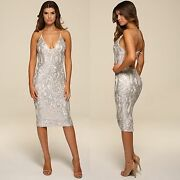 Womens Honor Gold Luxe Sequin Low Back Design Midi Evening Cocktail Party Dress