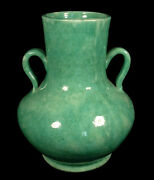 VINTAGE 1920s GREEN PANAMA ART POTTERY VASE HANDLES EARLY CALIFORNIA SACRAMENTO
